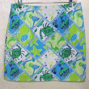 Lilly Pulitzer Starboard Patch Skirt Blue Green